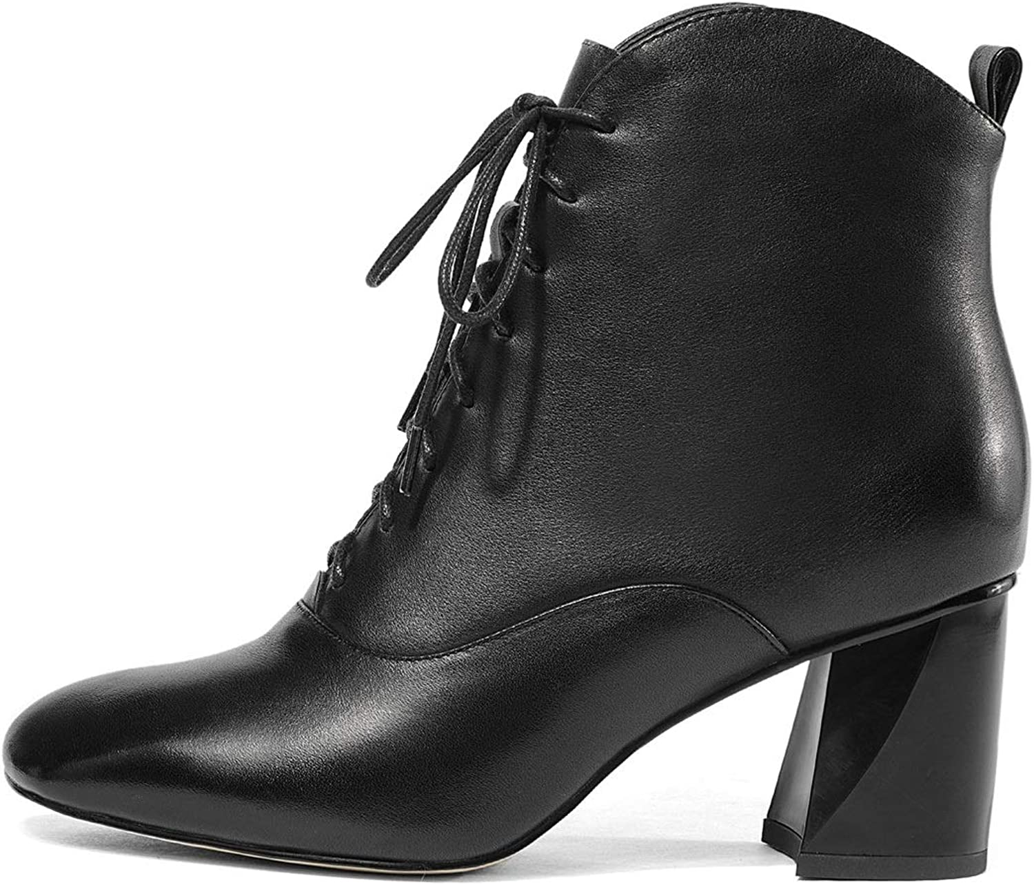 Women's Ankle Boots, Fashion Martin Boots Square Head Rough High Heels Formal Dress shoes Black White (color   Black, Size   36)