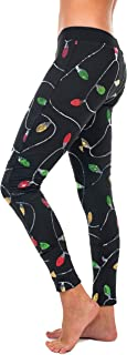 Women's Black Sequined Christmas Lights Leggings - Cute Ugly Christmas Sweater Party Tights