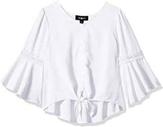 Amy Byer girls Bell Sleeve Tie Front Woven Shirt Top Blouse