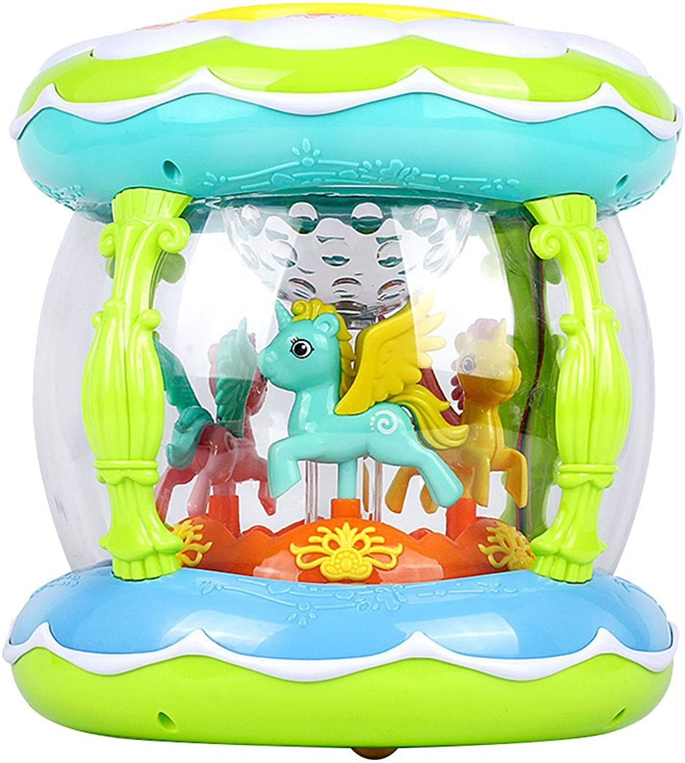 YeahiBaby Early Learning Toys Toddler Musical Drum Toy Music and Light Toy Carousel Music Box