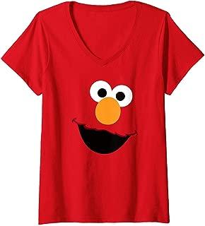 Womens Sesame Street Elmo Face V-Neck T-Shirt