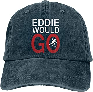 Vintage Denim Eddie Would GO with Surfing Adjustable Washed Trucker Baseball Cap Dad Hat