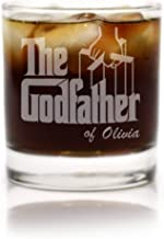 Premium Etched Personalized The Godfather Movie Engraved Whiskey Glass - Godparent Gift