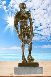 Handmade European Bronze Sculpture Collector Edition Nude Male Men Gay Male Art Marble Base Bronze Statue -XN-1427-Decor Collectible Gift