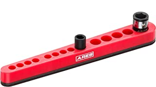 ARES 70221 - Red 14 Hole Hex Bit Organizer with Strong Magnetic Base - Holds 12 Bits and 2 Bit Holders - 8 1/4-Inch Bits and 4 3/8-Inch Bits