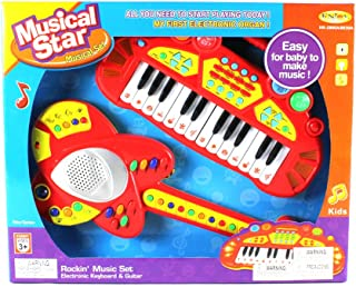 Lil Rockin' Musical Star Toy Guitar & Keyboard Instrument Combo Set, Easy for Kids to Handle, Plays Music and Makes Animal Sounds (Colors May Vary)