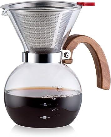 Foop 58 mm, Acero Inoxidable, Mango ergon/ómico de Madera Noble, Soporte para Filtro Prensador de caf/é