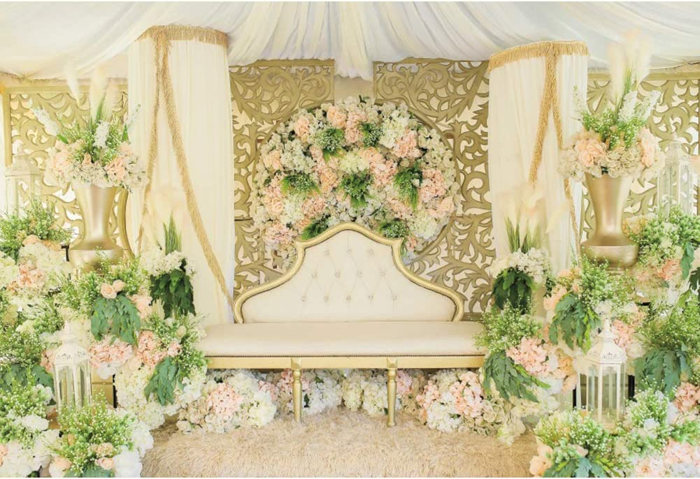 DORCEV 12x8ft Wedding Backdrop for Luxury Romance Wedding Ceremony Bridal Shower Party Photography Background Garden Pink Flowers White Lace Tulle Wedding Photo Studio Props
