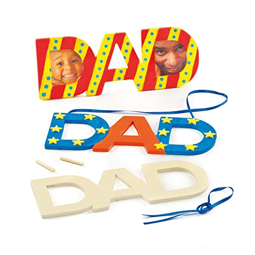 Baker Ross Dad Father's Day Wooden Decorations (Pack of 4) For Kids to Paint and Decorate