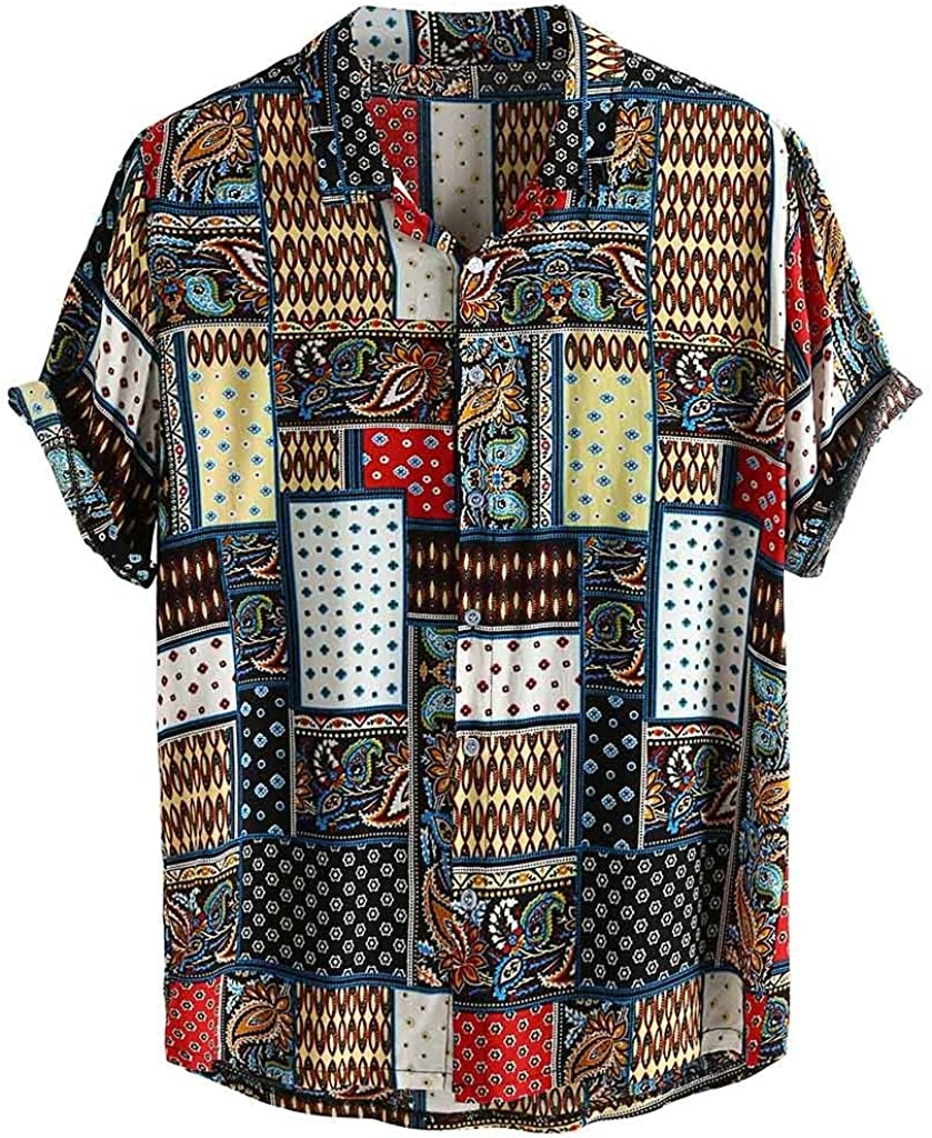 Asibeiul Men's Vintage Ethnic Style Printing Loose Short Sleeve Shirt Casual Fashion Blouse Stand Collar Party Beach Summer