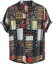 YKARITIANNA Mens Vintage Ethnic Style Printing Loose Short Sleeve Stand Collar Casual Shirt