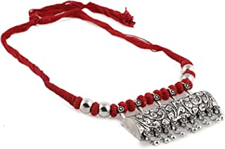 Women's Designer German Silver Necklace With Red Dori