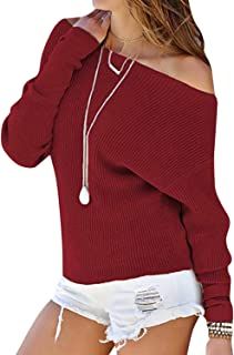 Winter Women Sweaters Off The Shoulder Batwing Sleeves Solid Color Pullovers Loose Knitted,