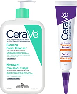 CeraVe Daily Foaming Face Cleanser and Vitamin C Serum Bundle
