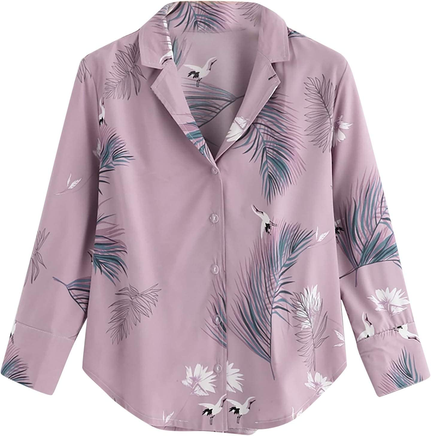 Floral Blouses for Women Long Business Ele Max 43% OFF Sleeve Kansas City Mall Vintage Casual