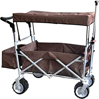 BROWN JUMBO WHEEL PUSH AND PULL HANDLE FOLDING WAGON ALL PURPOSE GARDEN UTILITY BEACH SHOPPING TRAVEL CART OUTDOOR SPORT COLLAPSIBLE WITH CANOPY COVER FREE ICE COOLER BAG -EASY SETUP NO TOOL NECESSARY