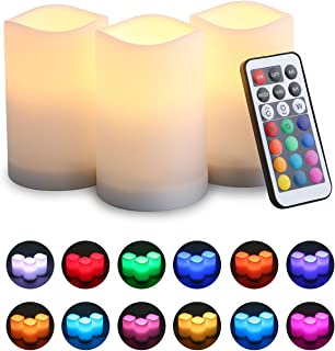 KOBWA LED Flickering Flameless Candles With Color Changing, Remote Control and Auto-off Timer, 100 Hours Working Time, Battery-Operated. 3 Pack, Multi-Color