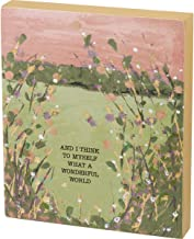 """Primitives by Kathy Friendship Heart Gallery Block Sign, 6"""" x 7"""", What A Wonderful World"""