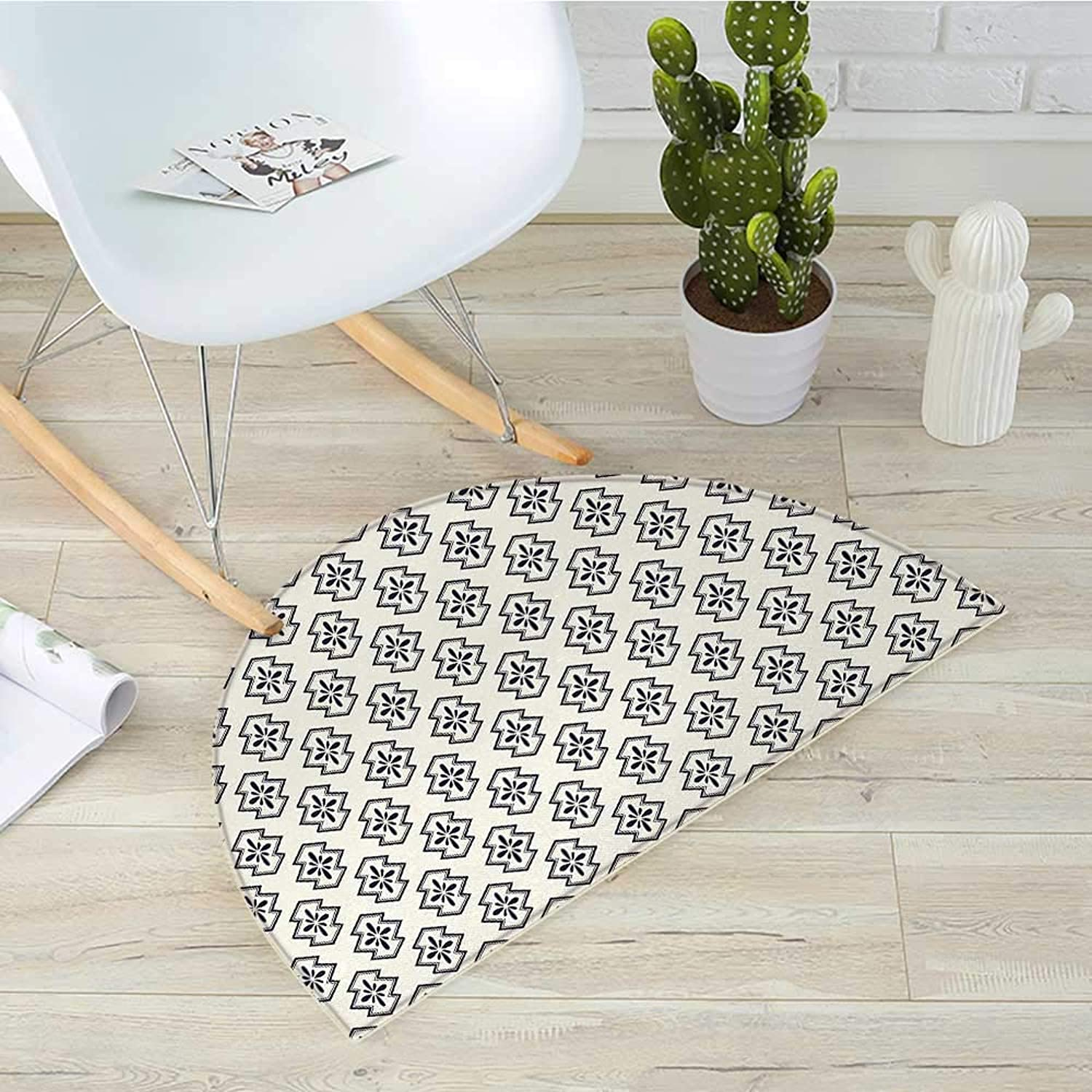 Geometric Semicircle Doormat Eastern Flower Patterned Abstract Geometric Shapes Oriental Asian Culture Halfmoon doormats H 31.5  xD 47.2  Dark bluee Cream