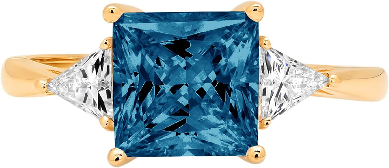 2.37ct Princess Trillion cut 3 stone Solitaire Natural London Blue Topaz Gem Stone VVS1 Designer Modern Statement Ring Solid 14k Yellow Gold Clara Pucci