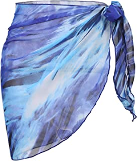 Ekouaer Womens Beach Short Sarong Sheer Chiffon Cover Up Soild Color Swimwear Wrap S-3XL
