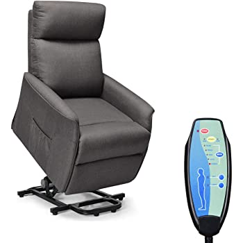 Giantex Power Lift Massage Recliner Chair for Elderly, Soft Warm Fabric Sofa, Heavy Padded Cushion, Remote Control, Home Theater Seating, Leisure Lounge w/Side Pocket, Living Room Office (Dark Grey)