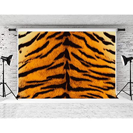 Tiger 10x15 FT Photography Backdrop Black Striped Large Cat from Siberia Swimming in The Lake in The Forest Background for Party Home Decor Outdoorsy Theme Vinyl Shoot Props Fern Green Pale Brown