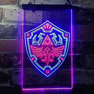zusme Legend of Zelda Link Shield Novelty LED Neon Sign Blue + Red W12 x H16