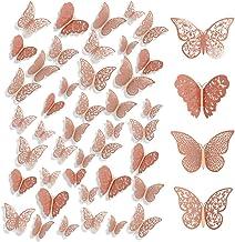 BUYGOO 96 Stks 3D Vlinder Muurstickers Rose Goud Muurstickers Craft Vlinder Muurschildering Stickers Decor voor Huis en Sl...