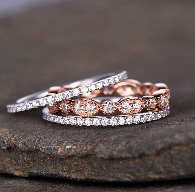 Yaya Women Stackable Ring Set Overseas parallel import regular item Oklahoma City Mall Zi Three-Piece Gorgeous Cubic