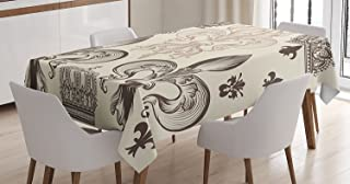 Fleur De Lis Decor Tablecloth by Ambesonne, Heraldic Pattern with Fleur de Lis and Crowns Tiara Iris Flowers Coat of Arms Knight, Dining Room Kitchen Rectangular Table Cover, 52 X 70 Inches