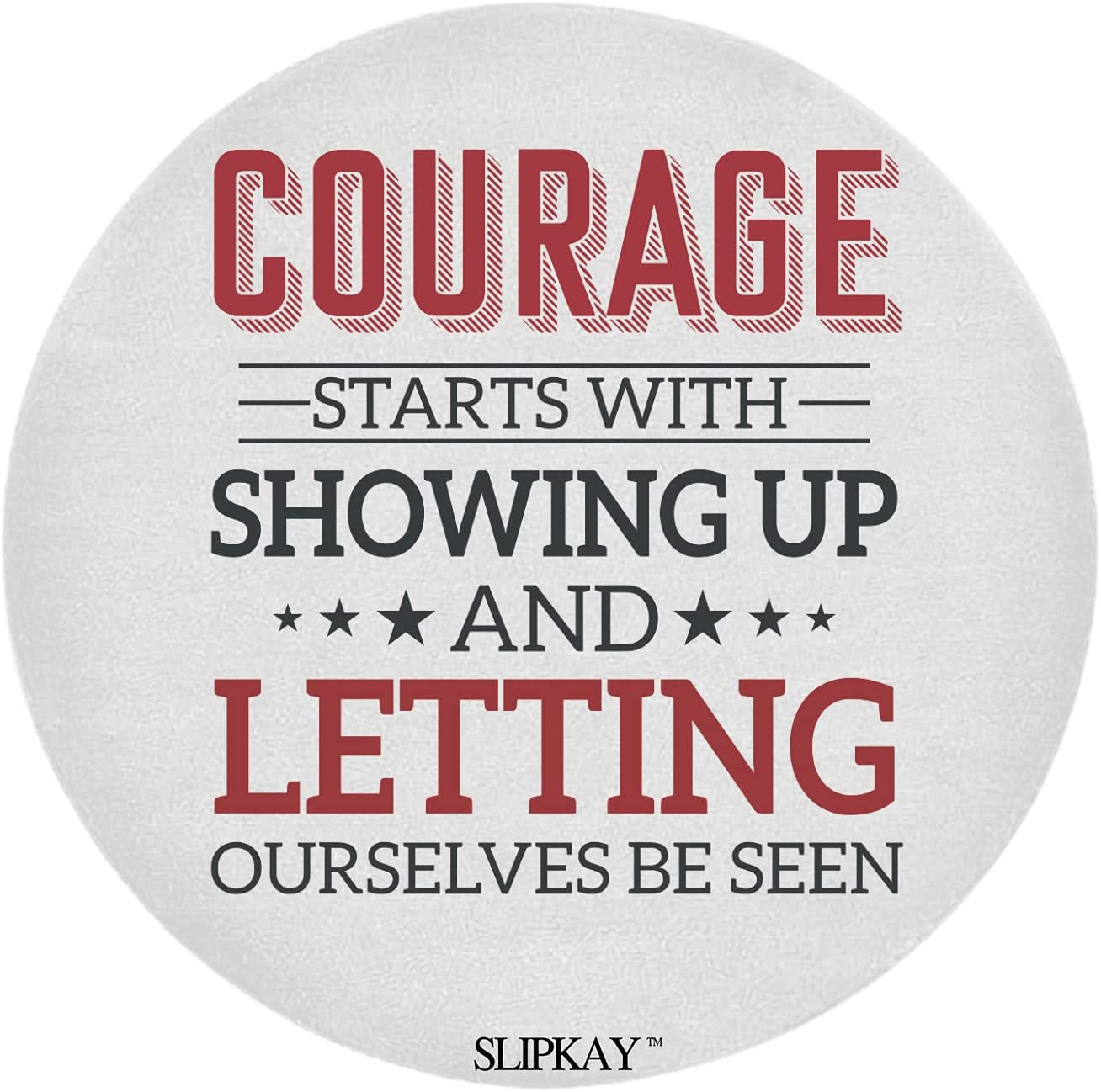 Courage Starts with Showing Up Round Brene Online limited product Rug Brown Quote Ranking TOP6
