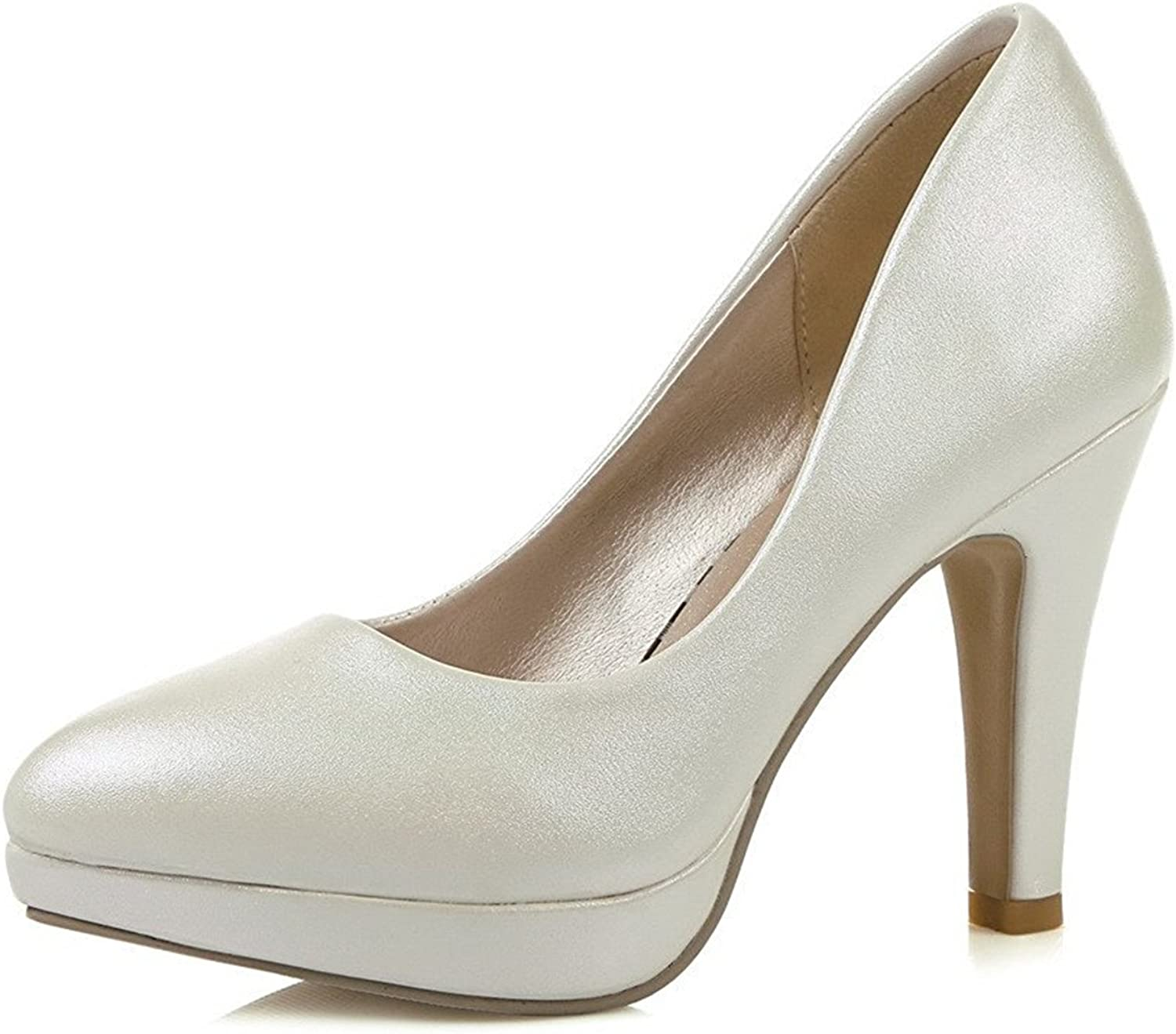 Tirahse Comfortable Women's High-Heels Solid Pull-on Patent Leather Pointed Closed Toe Pumps-shoes