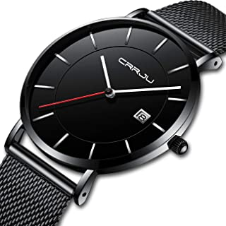 CRRJU Fashion Casual Luxury Brand Mens Analog Quartz Watch Date Mesh Strap Thin Dial Clock