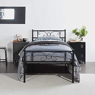 Symylife Eenpersoonsbed van metaal, met grote opbergruimte voor kinderen en volwassenen, voor matrassen 90 x 190 cm, zwart