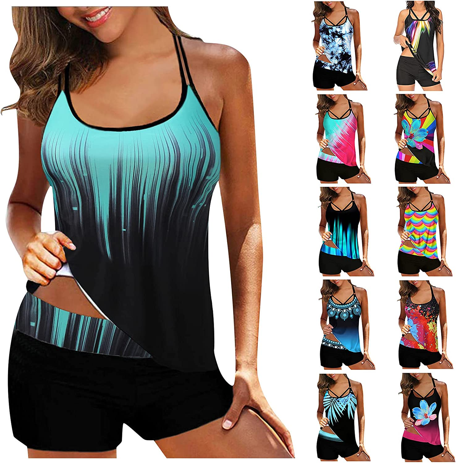 JPLZi Swimming Suit for Women Plus Size Halter Tankini Top and Skort Bottom Set Bathing Suits Two Piece Tankini Swimsuits