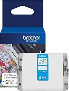"""Brother Genuine CZ-1005 continuous length ~ 2 (1.97"""") 50 mm wide x 16.4 ft. (5 m) long label roll featuring ZINK Zero Ink ..."""