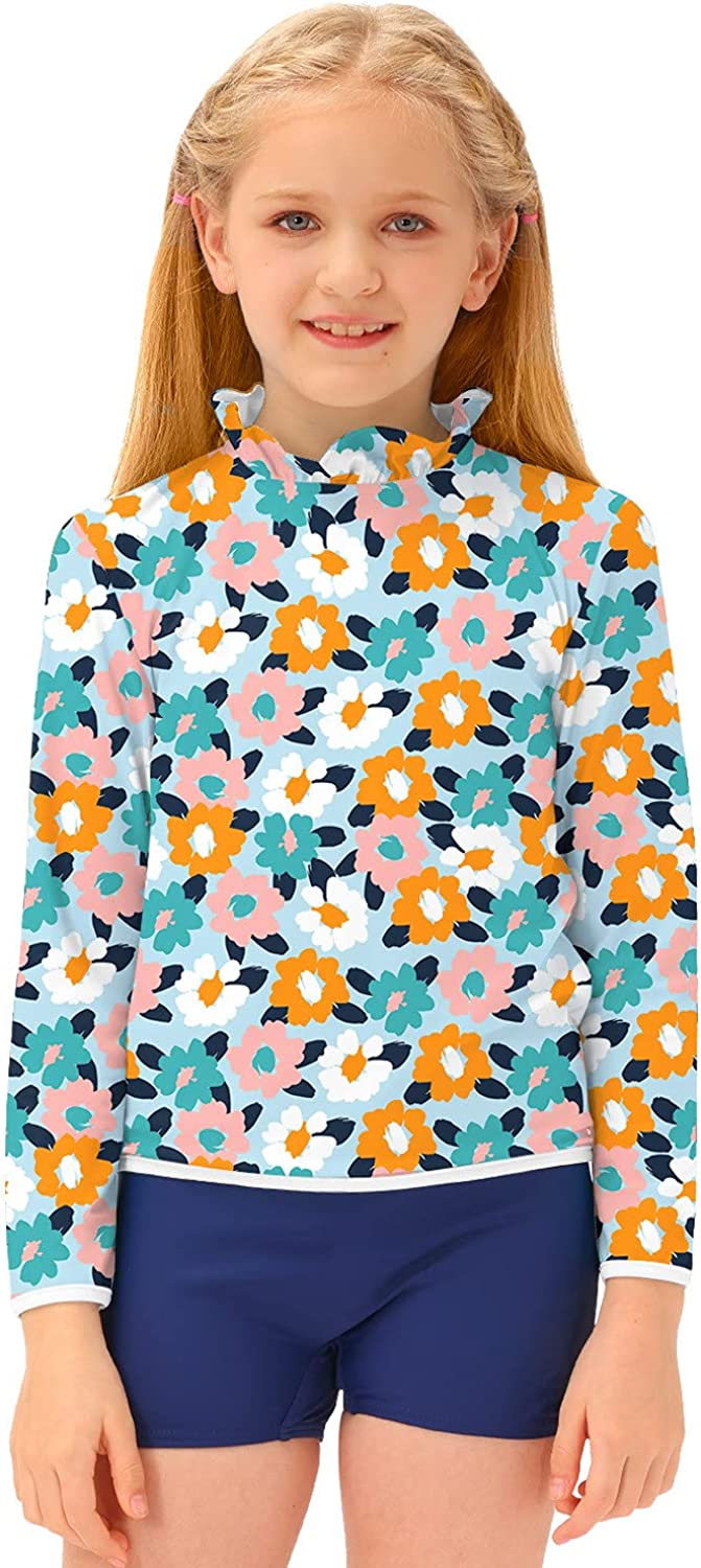 BesserBay Girl's Long Sleeve New York Mall Sun Floral Guard Protection Rash St Shipping included