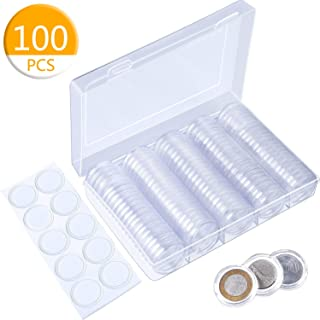 Konesky Coin Capsules Coin Storage Box 100 Pieces 30mm Coin Holder Case Plastic Storage Organizer Box for Coin Collection Supplies