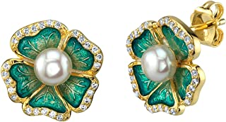 THE PEARL SOURCE 5-5.5mm Genuine White Freshwater Cultured Pearl & Cubic Zirconia Molly Earrings for Women
