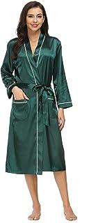 منامات Kiddom للنساء رداء حريري من الساتان رداء حمام للاستجمام ملابس نوم طويلة مع جيوب