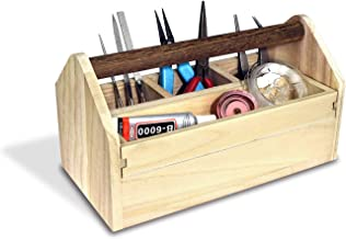 Ikee Design Natural Wood Color Wooden Craft Tool Box Caddy with a Handle