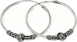 TreasureBay - Pendientes de aro de Plata de Ley 925 para Mujer, Estilo balli, Pendientes de aro de Bali para Mujer, 3,7 cm de diámetro