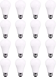 TCP RLVA6050ND16 9 Watt LED Light Bulbs | Shatter Resistant | | Energy Efficient (60W Equivalent) | Non-Dimmable | A19 E26 Base, 16 Pack, Daylight,