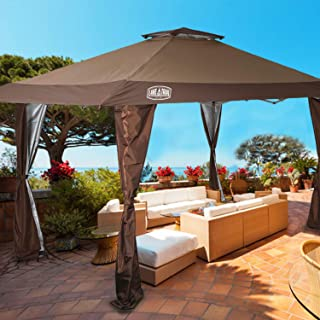 LAKE & TRAIL 13'x13' UV Block Sun Shade Canopy with Hardware Kits, Gazebo Shade for Patio Outdoor Garden Events, Brown
