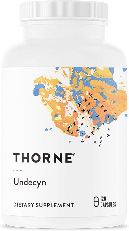 Thorne Research - Undecyn - Ácido undecilénico (en forma de undecilenato de calcio) con betaína HCL y berberina - 120 Cápsulas