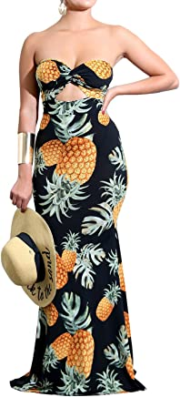 698d873c5d Lovaru Womens Pineapple Printed Boho Off Shoulder Cut Out High Waisted Maxi  Dress for Beach