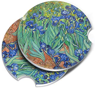 CARIBOU Coasters CB-RDCARCC2-SBRDCECST0001-2-A3662, Irises Vincent Van Gogh Round Ceramic Stone Car Coasters for Drinks (...