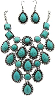 Rosemarie Collections Women's Boho Turquoise Bib Necklace Drop Earrings Set