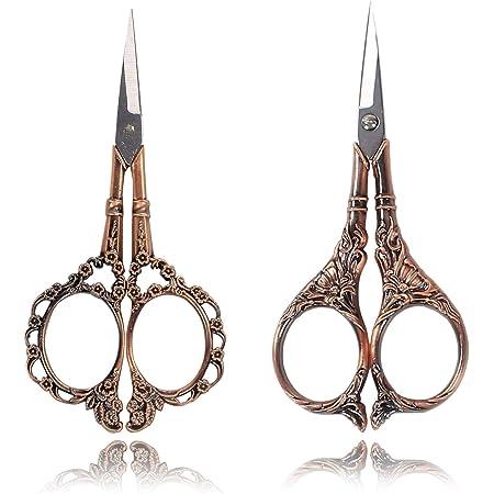 BIHRTC 2 Pairs Sewing Scissors Vintage European Style Flower Pattern Needlework 4.5in Embroidery Stainless Steel Scissors Tailor Craft Scissors (Copper+Copper)